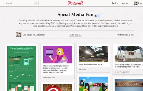 Social Media fun on pinterest